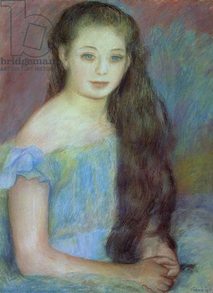 Portrait of a young girl with blue eyes, 1887 (pastel)