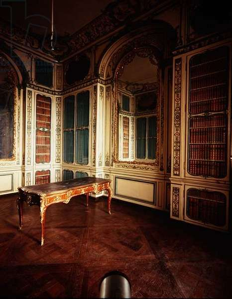 The Library of Louis XV with white and gold panelling by Jacques Verberckt (1704-71) c.1730s (photo)