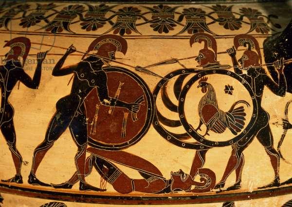 Detail of a Corinthian vase showing a hoplite battle, c.600 BC (terracotta)
