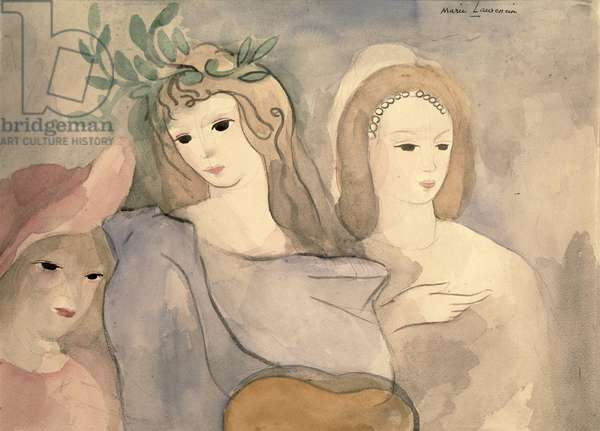 Three Young Girls (oil on canvas)