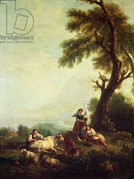 Landscape with Peasants Watching a Herd of Cattle (oil on canvas)