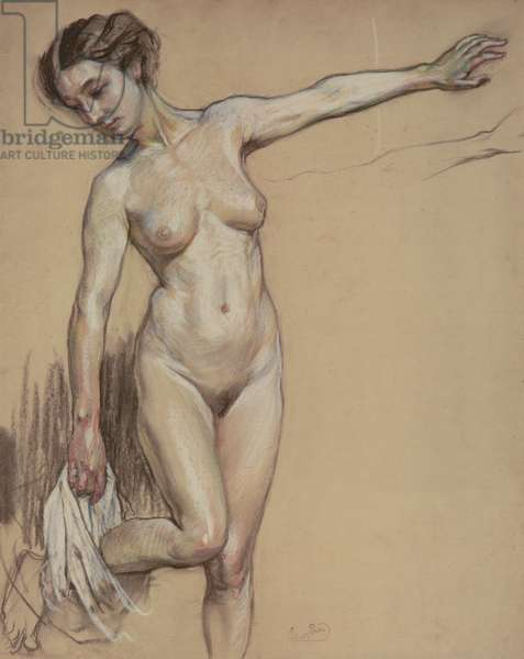 Nude Undressing, c.1904-06 (charcoal & pastel on paper)