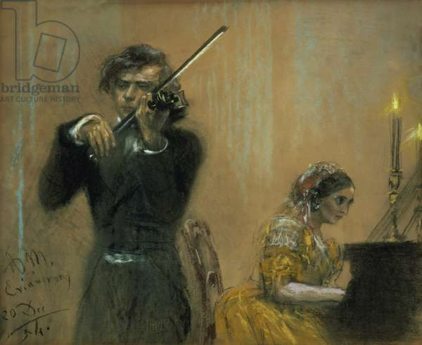 Clara Schumann (1819-96) and Joseph Joachim in concert, 1854 (pastel on paper)