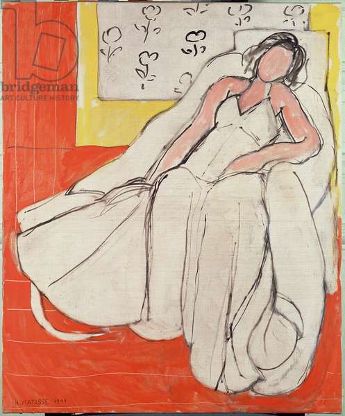 Young Woman in White with Red Background, 1944 (oil on canvas)