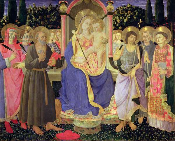 Madonna and Child enthroned with saints (altarpiece) (panel)