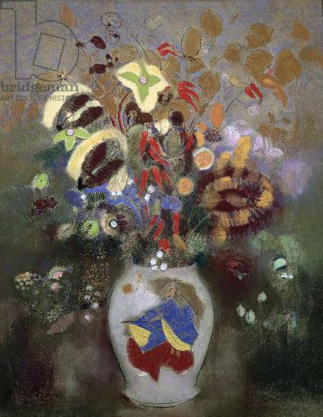 Still Life of a Vase of Flowers (pastel on paper)