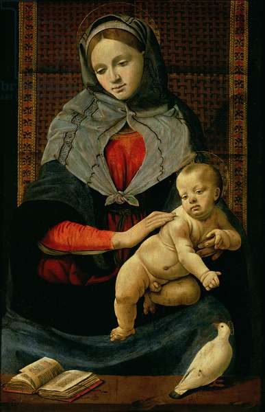 Madonna and Child with a Dove (oil on canvas)
