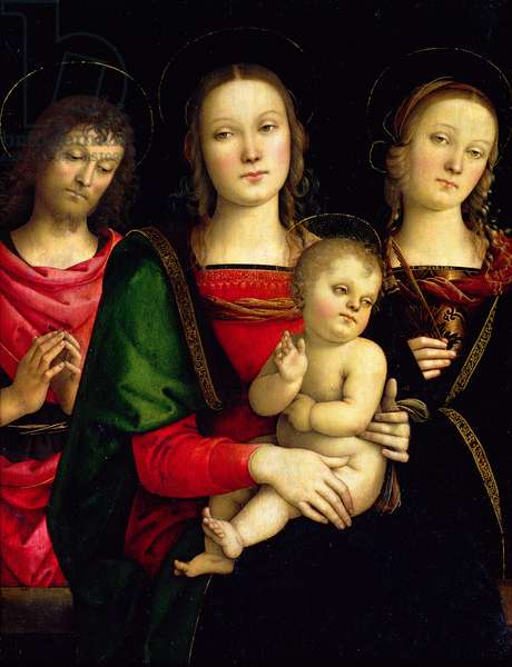The Madonna and Child with St. John the Baptist and St. Catherine of Alexandria (oil on panel)