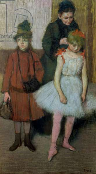 Woman with two little girls (pastel)