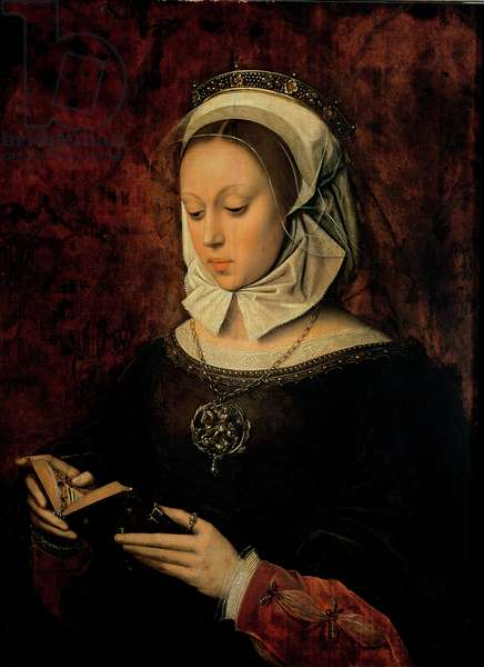 Young Woman Reading a Book of Hours (oil on panel)