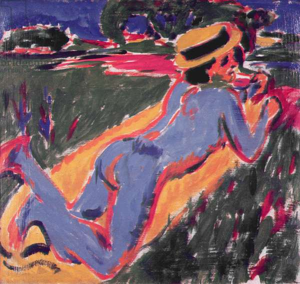 Blue Reclining Nude with a Straw Hat, 1908 (oil on canvas)