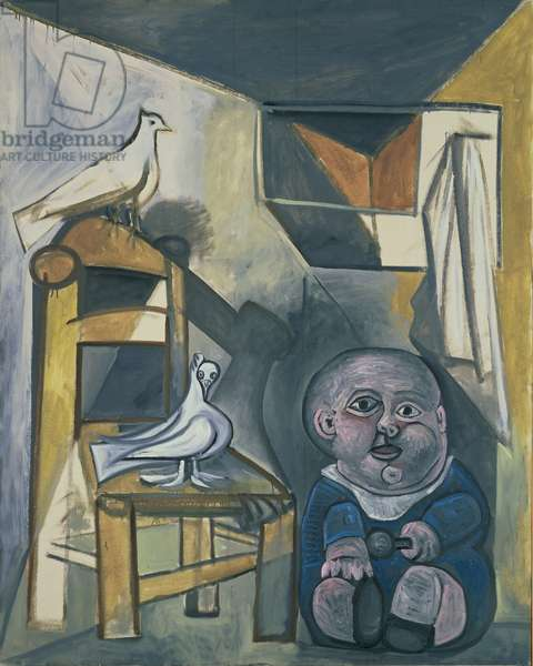 Portrait of a Child with Doves, 1943 (oil on canvas)