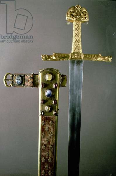 Sword with sheath, said to have belonged to Charlemagne (747-814) (gold set with precious stones)