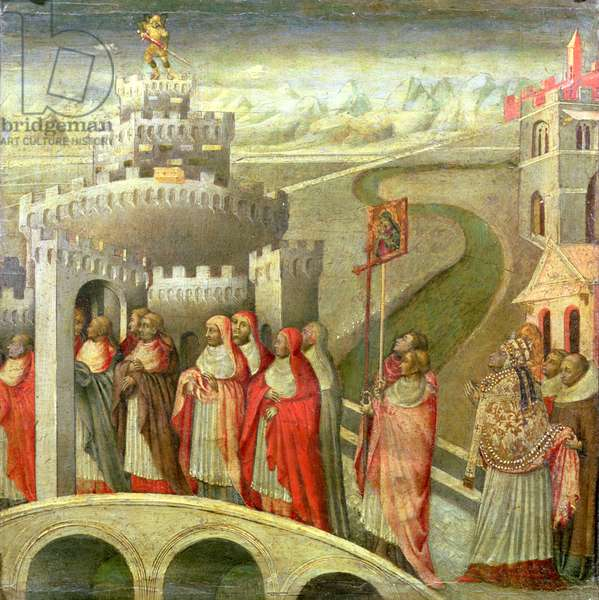 Procession of St. Gregory to the Castel St. Angelo (oil on panel)