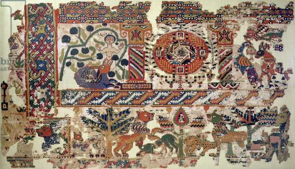 Fragment of textile depicting Jonah and the Whale (linen & wool) (detail of 105613)