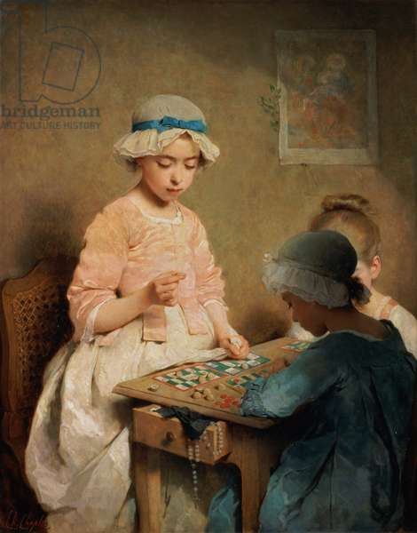 The Game of Lotto, 1865 (oil on canvas)