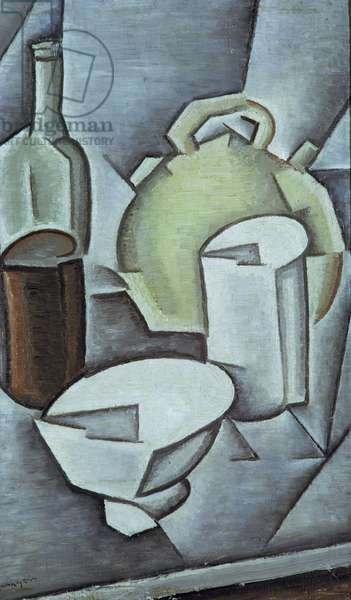 Still Life with a Bottle of Wine and an Earthenware Water Jug, 1911 (oil on canvas)