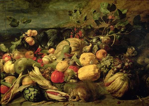 Still Life of Fruits and Vegetables (oil on panel)