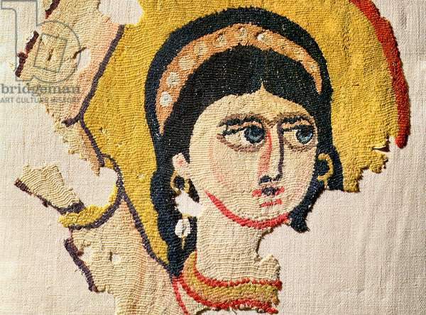 Fragment of a tapestry depicting the head of a dancer (wool & linen) (detail of 107971)