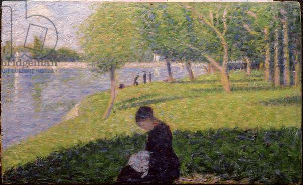 The seamstress, or Sunday at the Grande Jatte, study for 'A Sunday Afternoon on the Island of La Grande Jatte', c.1884-6 (panel) (see also 415)