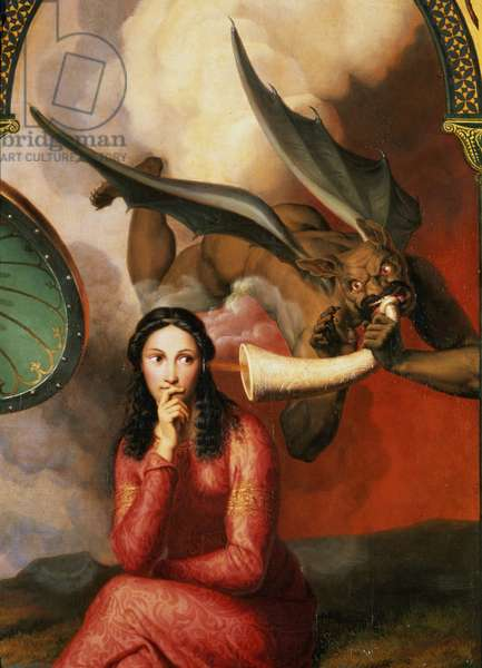 Good and Evil: the Devil Tempting a Young Woman, 1832 (detail of 89709) (oil on canvas)
