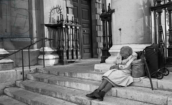 Homelessness in London, UK, 1978  (b/w photo)