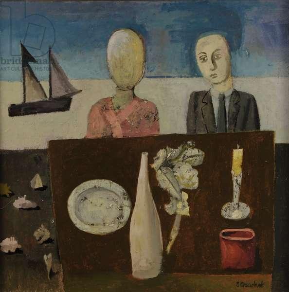 Strange Couple, 2017 (oil on board)
