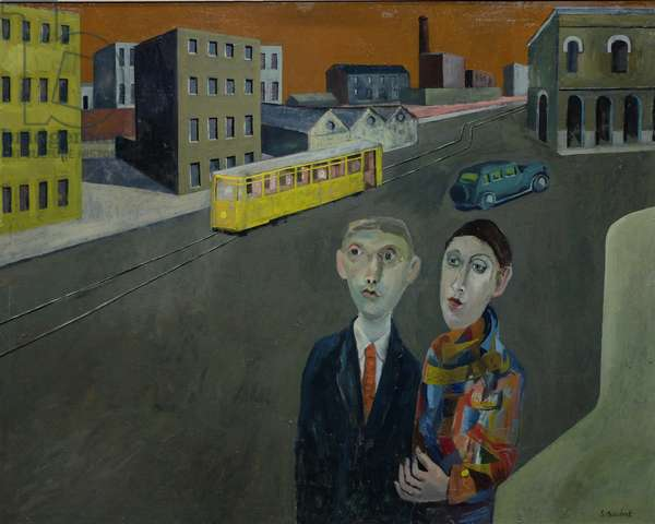Quiet Street with Tram, 2015 (oil on canvas)