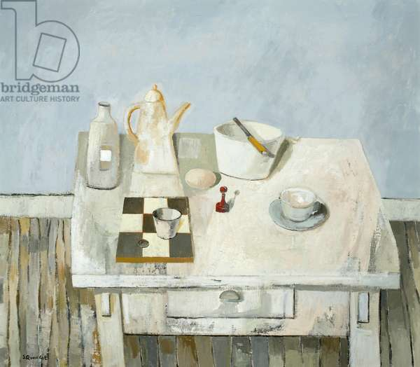 Arrangement on White Table, 2005 (oil on canvas)