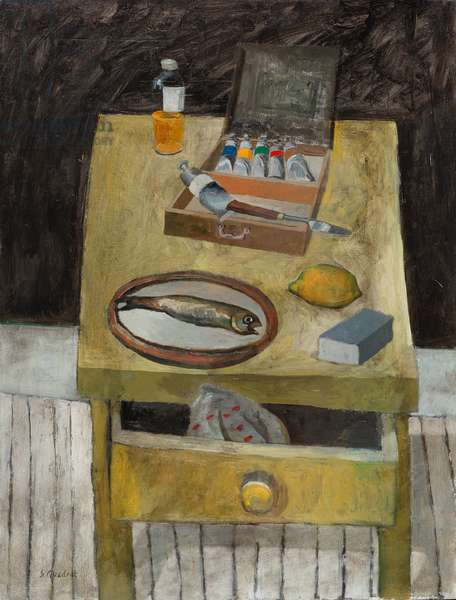 Still life with Fish and Paint Box, 2004 (oil on canvas)