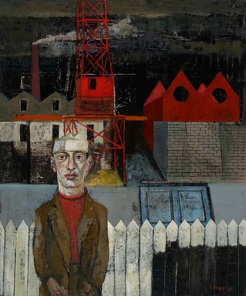 Man and Crane, 2005 (oil on canvas)