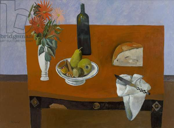 Still Life with Flowers, Bread and Knife, 2011 (oil on canvas)