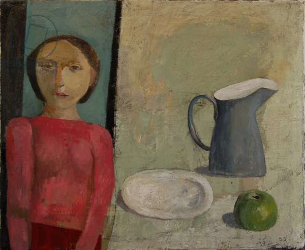 Young Woman with Jug and Apple, 2009 (oil on canvas)