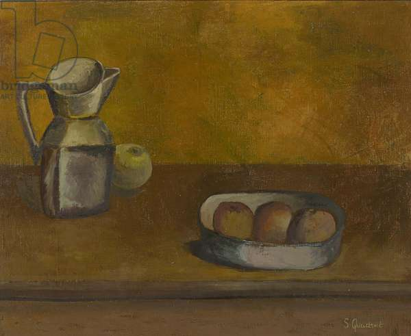 Still Life with Jug and Fruit, 2016 (oil on canvas)