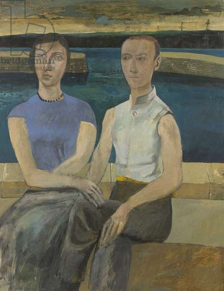 Couple by Harbour Wall, 2015  (oil on canvas)