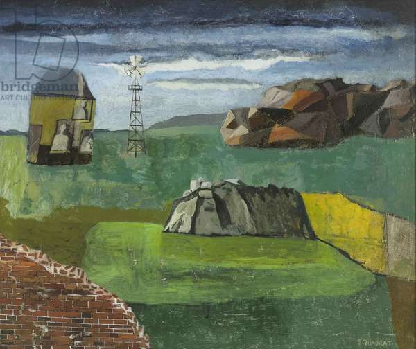 Landscape with Rocks and Windmill, 2010 (oil on board)