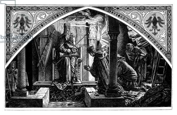 Otto III. at the grave of Charlemagne. According to the painting by Albert Rethel