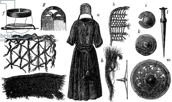 Pictures of female clothing from the entrance of the archaeological site in Borum Eshöi, Jutland