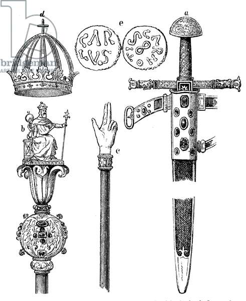 Sword (a), Sceptre (b) Court baton (c) and crown (d) of Charlemagne and coins (s) from the time of Charlemagne