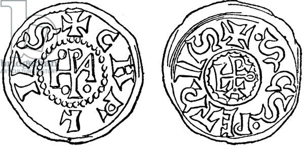 coin (denarius) of Charlemagne and Pope Leo III.