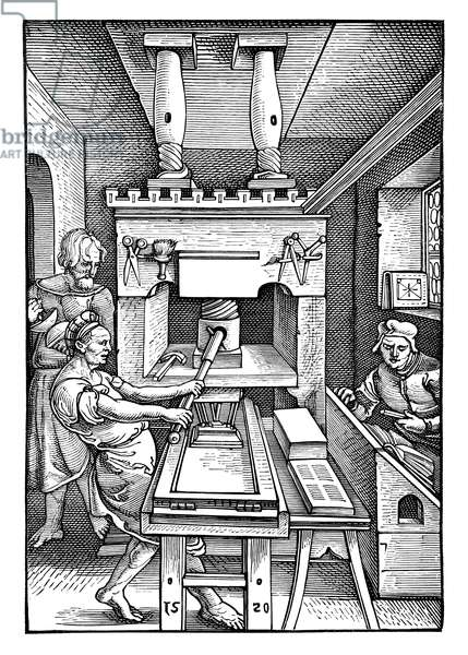 Printing press from 1520. From the collection of the German Booksellers Association in Leipzig