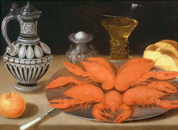 Crayfish on a pewter plate (oil on panel)