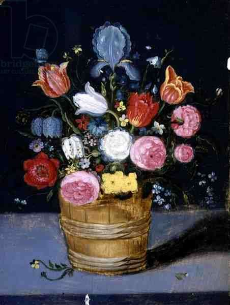Still Life of Flowers in a Wooden Tub (oil on panel)