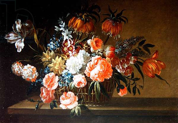 A Still Life of Roses, Carnation and Tulips (oil on canvas)