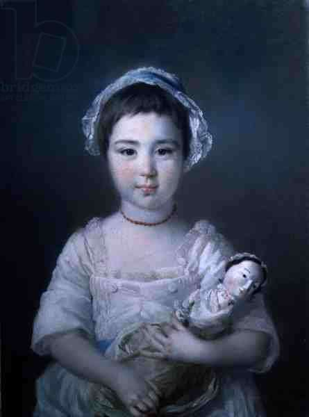 A Portrait of Lady Ann Fitzpatrick Holding a Doll (oil on canvas)