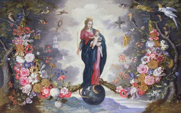 The Virgin and Child surrounded by a garland (oil on canvas)