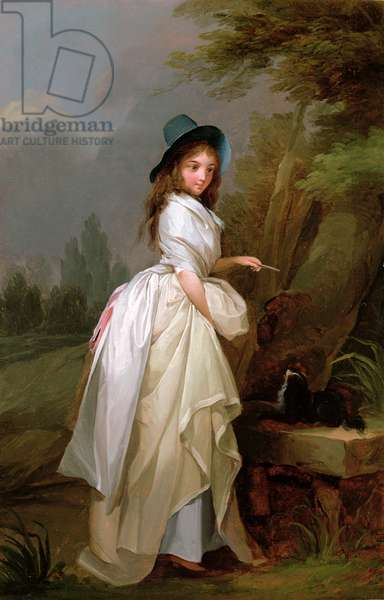A Young Woman inscribing a Tree (oil on panel)