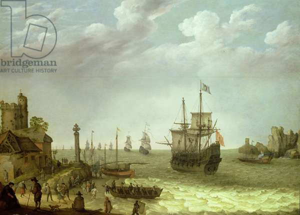 Settlement on a rocky shore with the Dutch fleet approaching, 1640