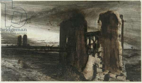 Ruins in a Landscape, 1870 (pen & ink on paper)