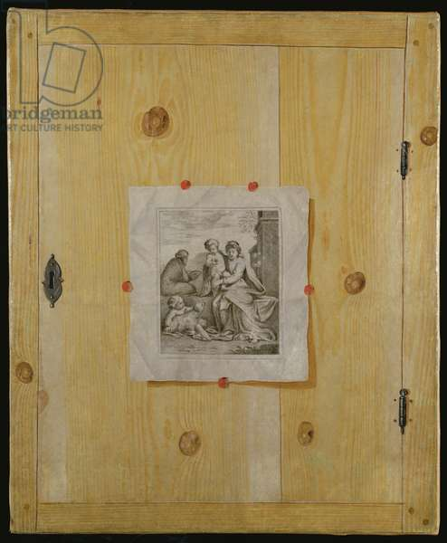 A Trompe l'Oeil of a Cabinet Door with an Engraving (oil on canvas)